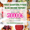 First Quarterly Food Blog Income Report: How I Made $1000 in Three Months!