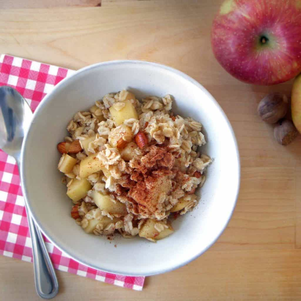 This perfect apple cinnamon oatmeal is sweetened with honey and flavored with cinnamon and nutmeg. It uses a special trick to keep the oats intact, and avoid mushy/slimy oatmeal.