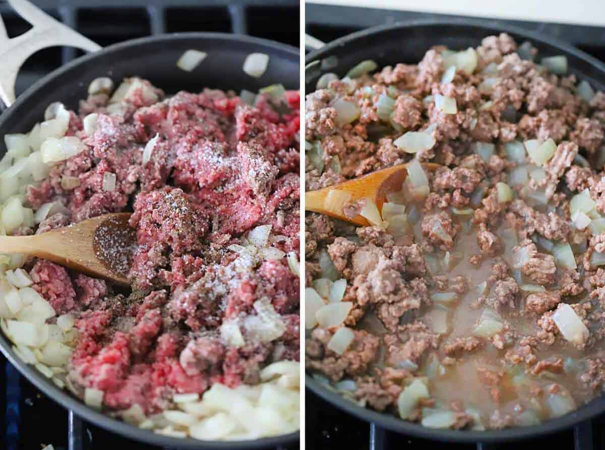 A skillet with ground beef and onions.