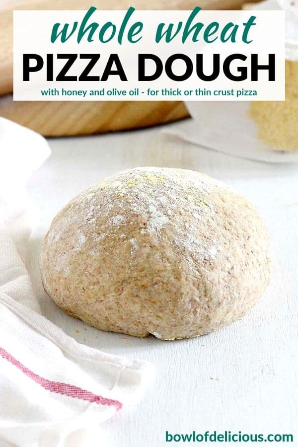 Pinterest image for whole wheat pizza dough.