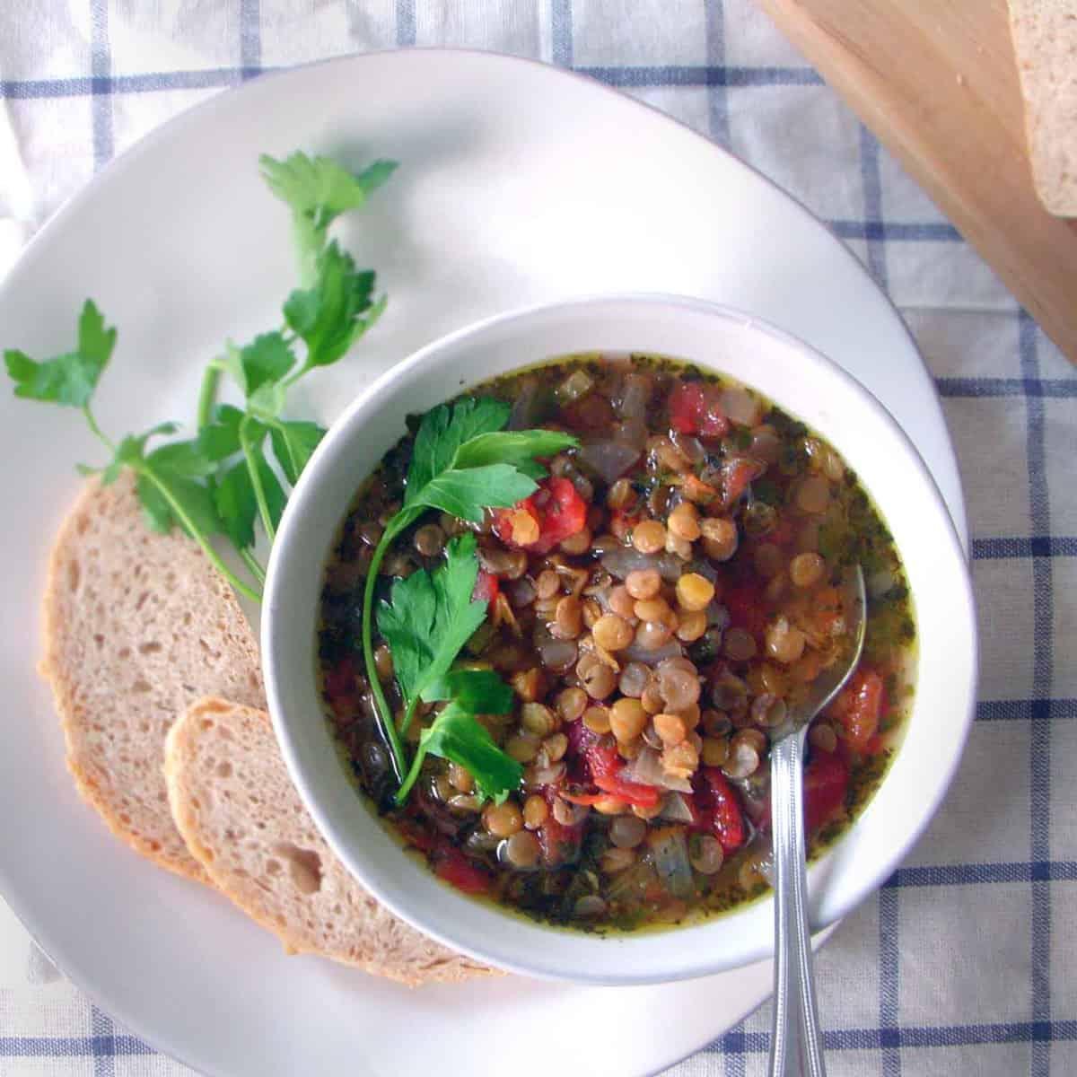 Greek Lentil Soup (with slow cooker option)