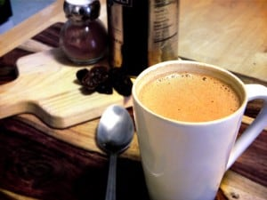 Hot Chocolate (with a kick!) | Creamy, rich, delicious, and easy homemade hot chocolate with a teensy bit of cayenne pepper to spice it up.
