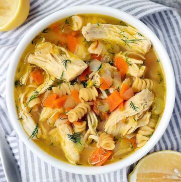 Square photo of chicken noodle soup.
