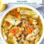 Pinterest image for chicken noodle soup.