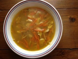 An easy chicken noodle soup flavored with lemon and dill