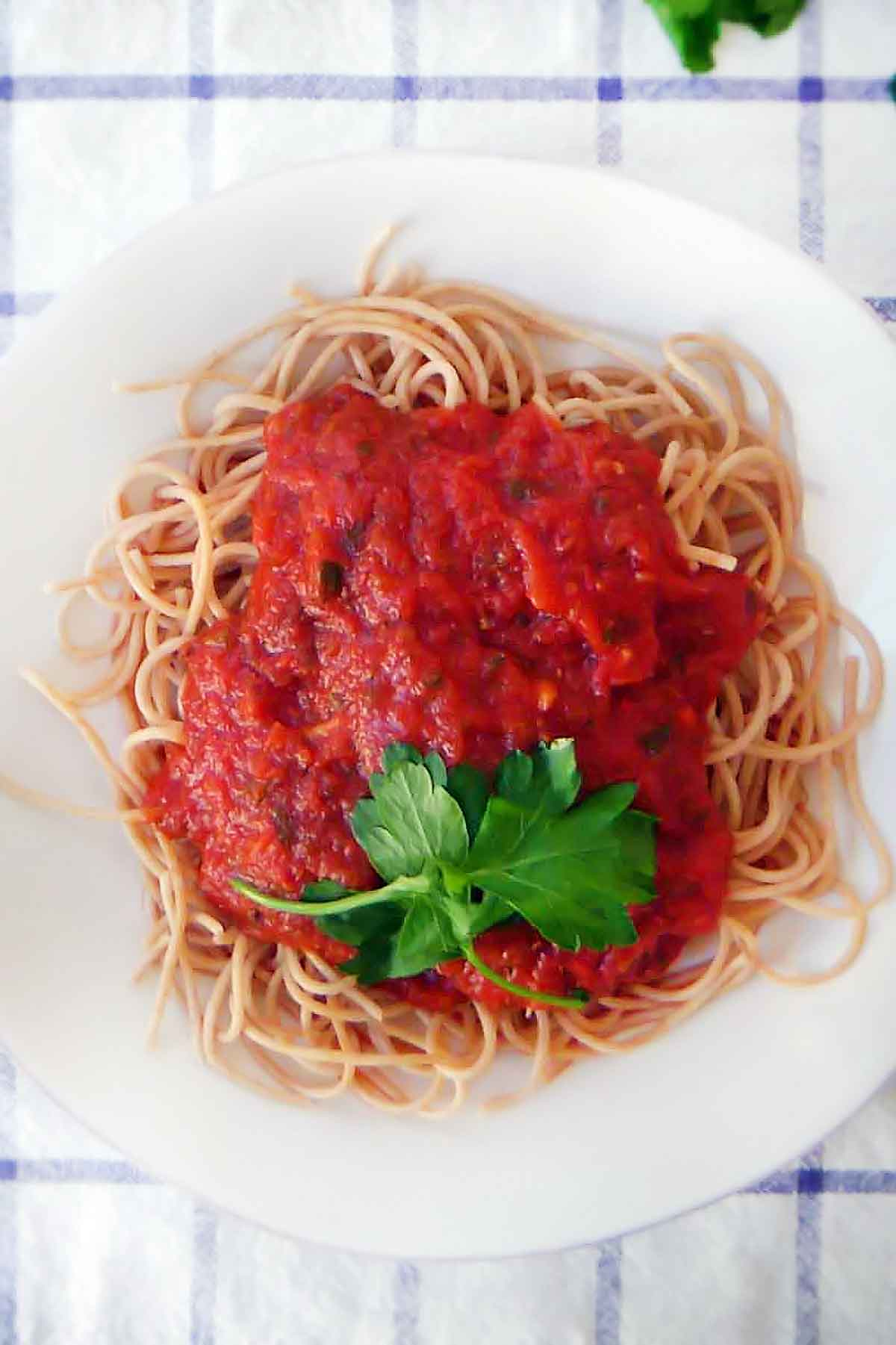 Top down view of pasta with marinara sauce white plate on blue and white checkered tablecloth, sprinkled with torn basil.