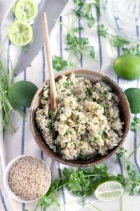 Cilantro Lime Brown Rice- just like you get at Chipotle! An easy side dish made with only three ingredients. Brown rice is cooked with the zest of one lime, with lime juice and cilantro added at the end.