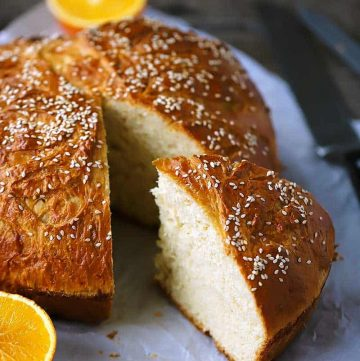 Vasilopita, or Greek New Year's Bread, is a sweet yeasted egg bread scented with orange and traditionally served on New Year's day. A coin is hidden inside and whoever gets it has good luck for the year.