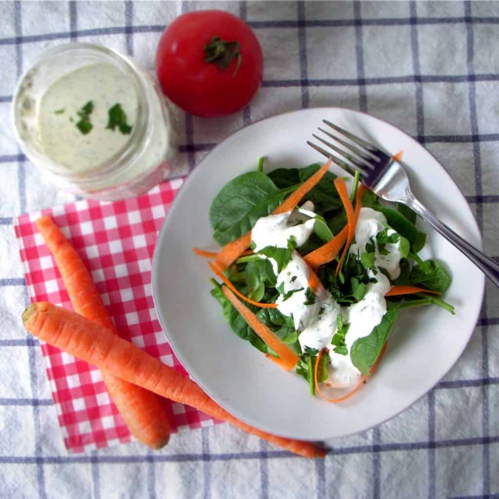 This homemade ranch can be made thick as a dip, thin as a dressing, and uses sour cream instead of mayo as a base. It has a lot of flavor from the fresh herbs and a kick from cayenne pepper.