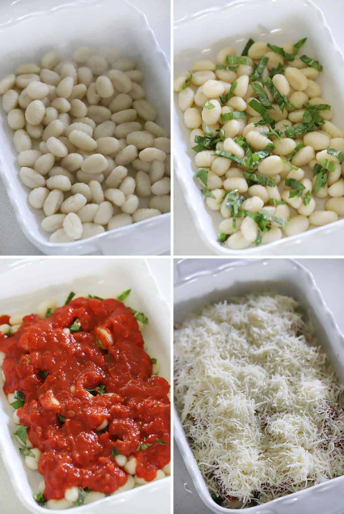 How to assemble baked gnocchi in a baking dish.