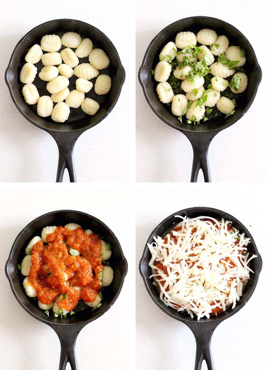 Baked Gnocchi is a quick and easy weeknight meal- cheesy, pillowy gnocchi smothered in marinara sauce- the ultimate Italian comfort food with only FOUR pre-made ingredients!