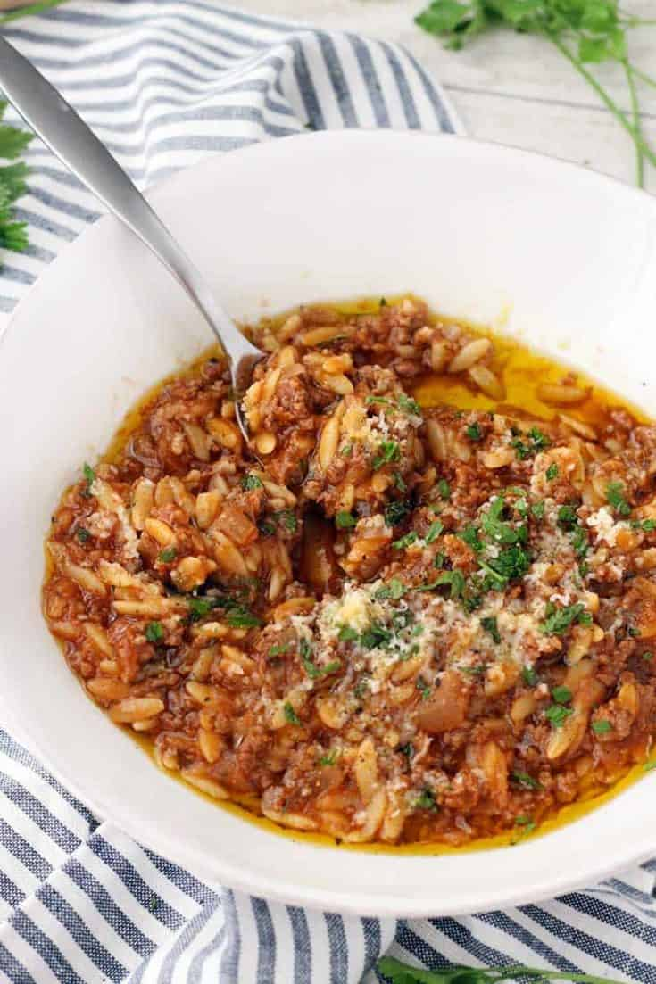 Manestra (Greek-Style Orzo with Ground Beef)