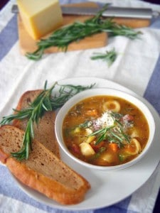 fresh and hearty minestrone soup that's chock full o' vegetables and can be made on the stovetop or in the slow cooker. The secret ingredient in this is lots of fresh rosemary. It can be made with almost any combination of veggies you have!