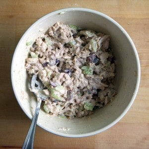 Chicken salad with grapes, walnuts, and celery, with a dressing of either sour cream or mayo. Make in bulk for lunch all week!