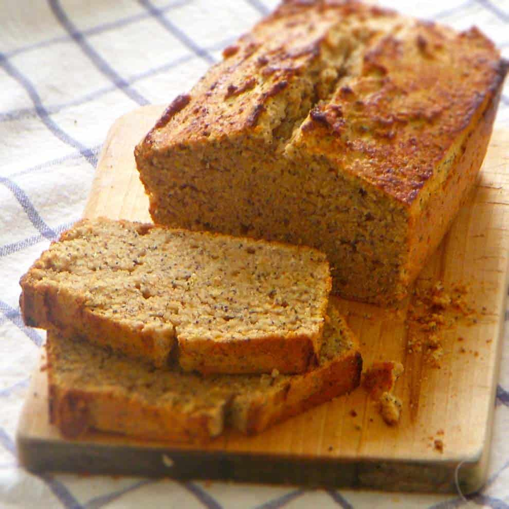 My whole grain lemon poppyseed bread is a satisfying, moist, fluffy, flavorful quick bread made with a mixture of spelt and white whole wheat flour.