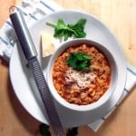 "Manestra | I sometimes refer to this as ""Greek Chop Suey"" - Ground beef or turkey is cooked with onions in a tomato-based broth with orzo, with mint and cinnamon added for a unique Greek flavor."