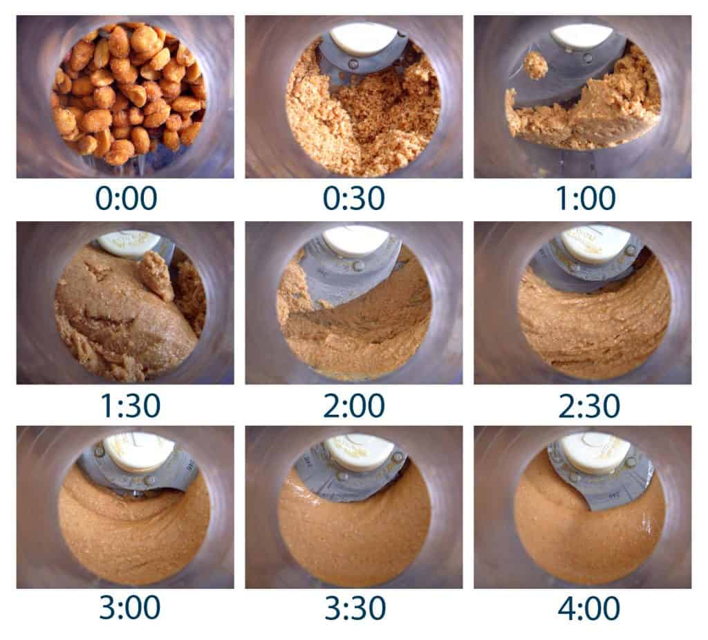 Nine collaged photos showing the peanut butter at progressive stages of being ground in a food processor.