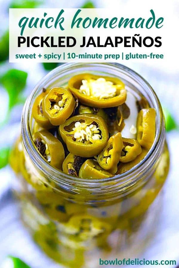 Pinterest image for pickled jalapeños.