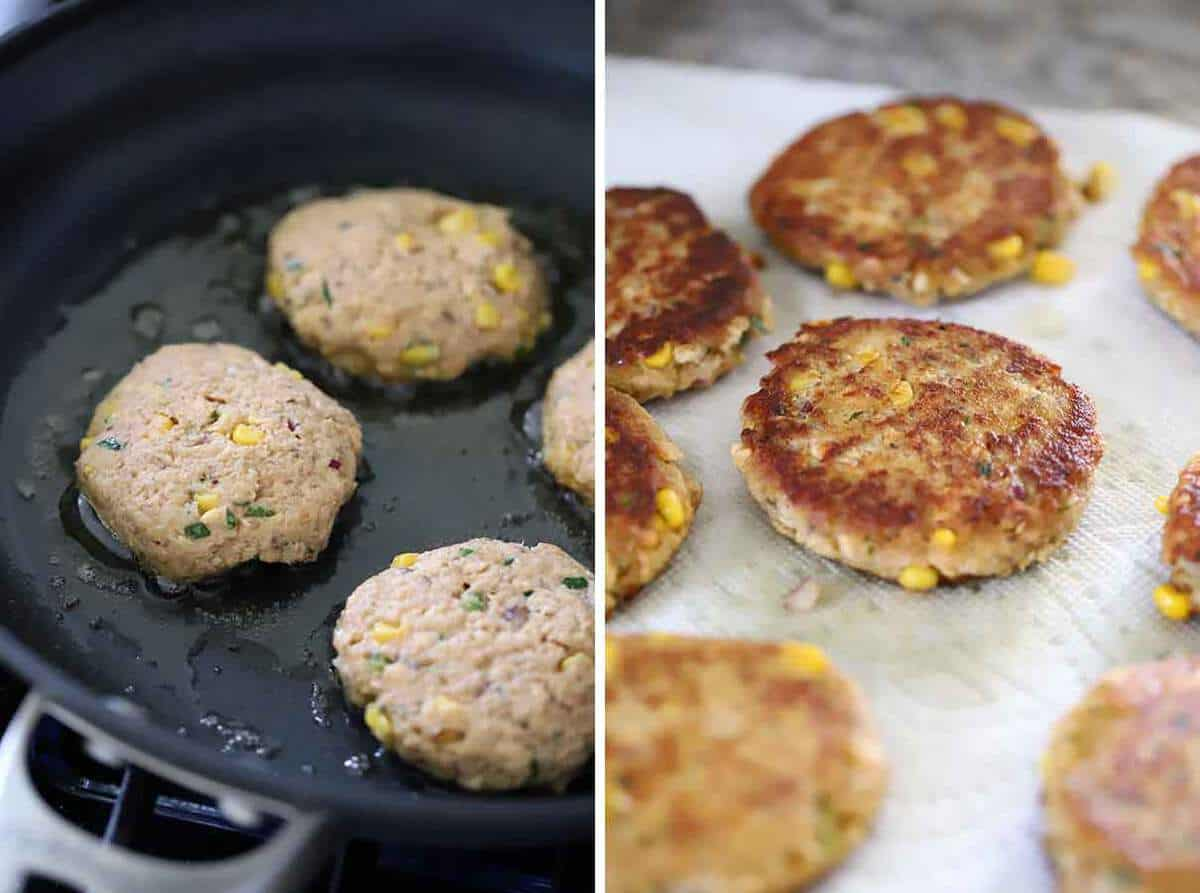 How to fry salmon patties in a nonstick skillet in olive oil