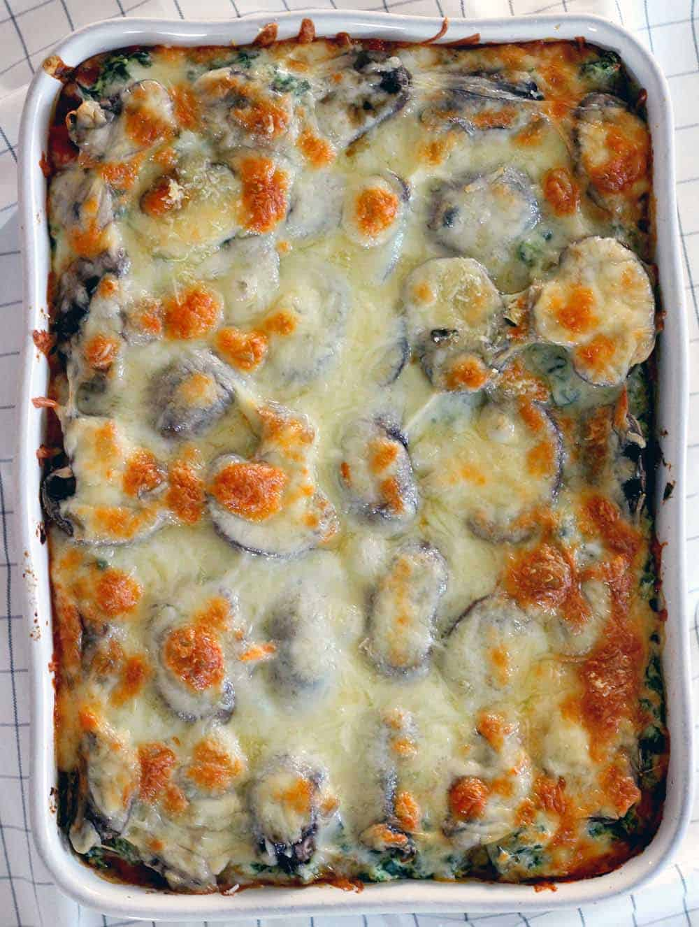 Casserole dish filled with lasagna, cropped in so lasagna fills the frame.
