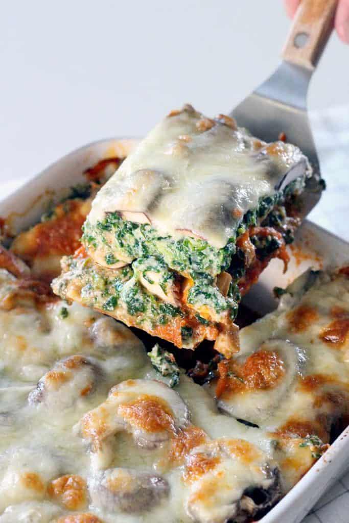 Spinach and Mushroom Vegetarian Lasagna | Bowl of Delicious