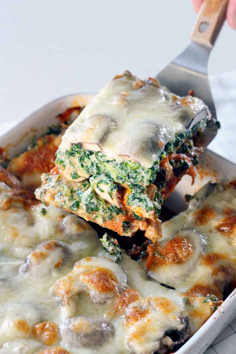 Spinach and Mushroom Vegetarian Lasagna | Bowl of Delicious