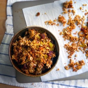 Coconut, Caradamom, and Almond Granola | A healthy homemade granola made with coconut oil and sweetened with honey- this will make your house smell beyond amazing!