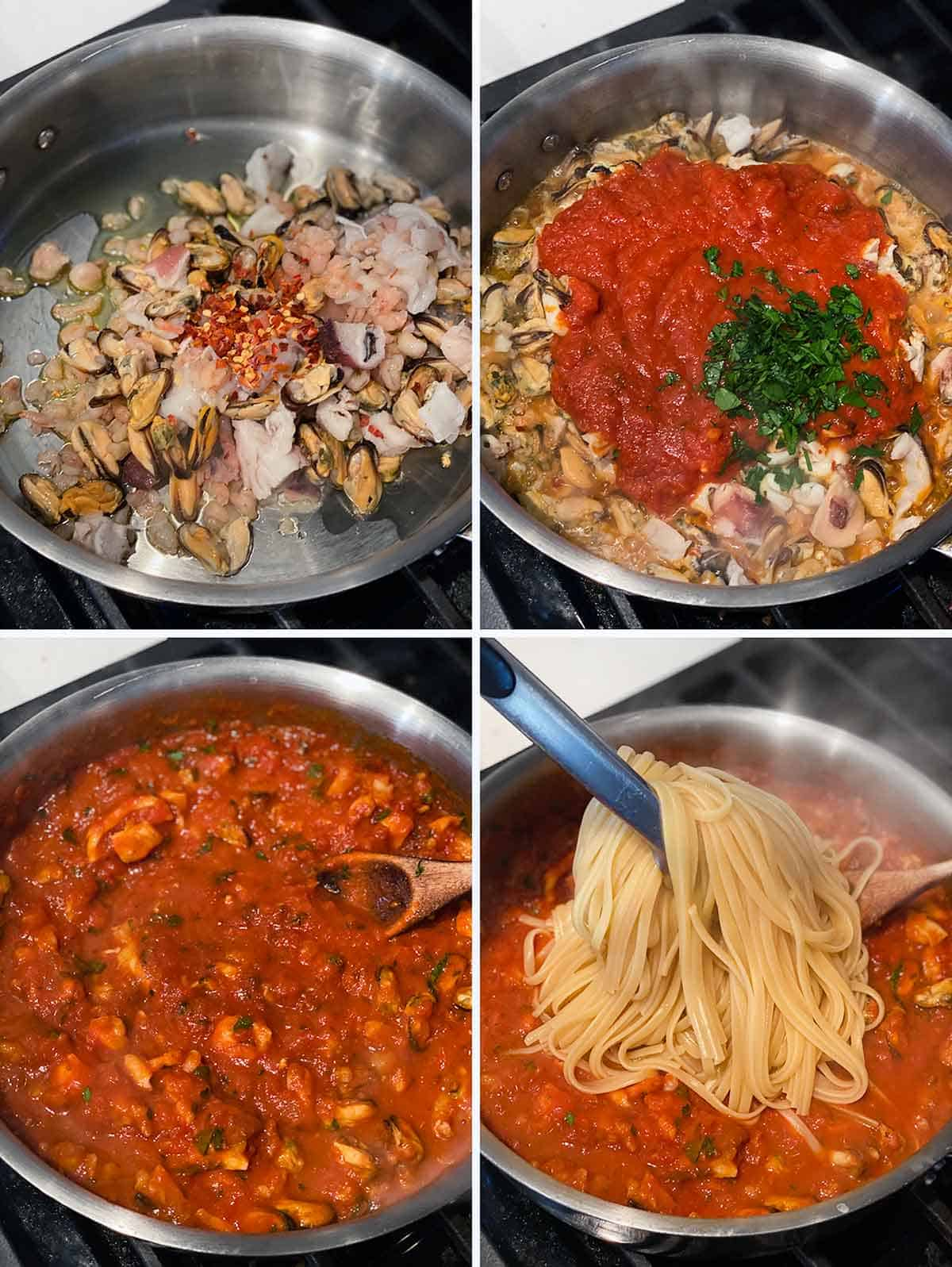 Process collage showing how to make seafood linguine with fra diavolo sauce in a skillet.