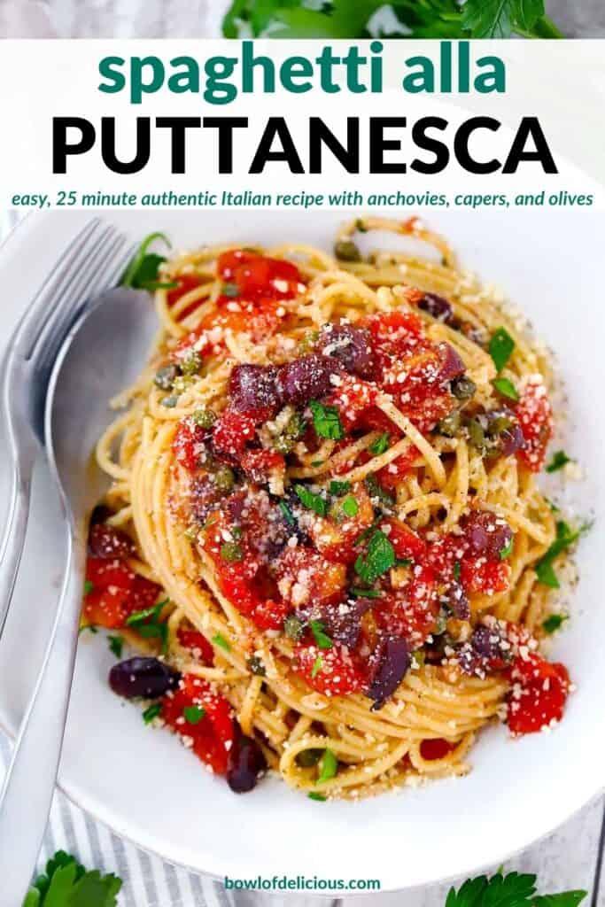 Pinterest image for spaghetti alla puttanesca.