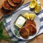 Salmon Croquettes with Lemon Dill Sauce- Delicious salmon patties made with canned salmon served with a creamy lemon dill sauce. Very budget-friendly and versatile; can be eaten on their own, in salad, sandwiches, as a burger alternative, or on top of pasta!