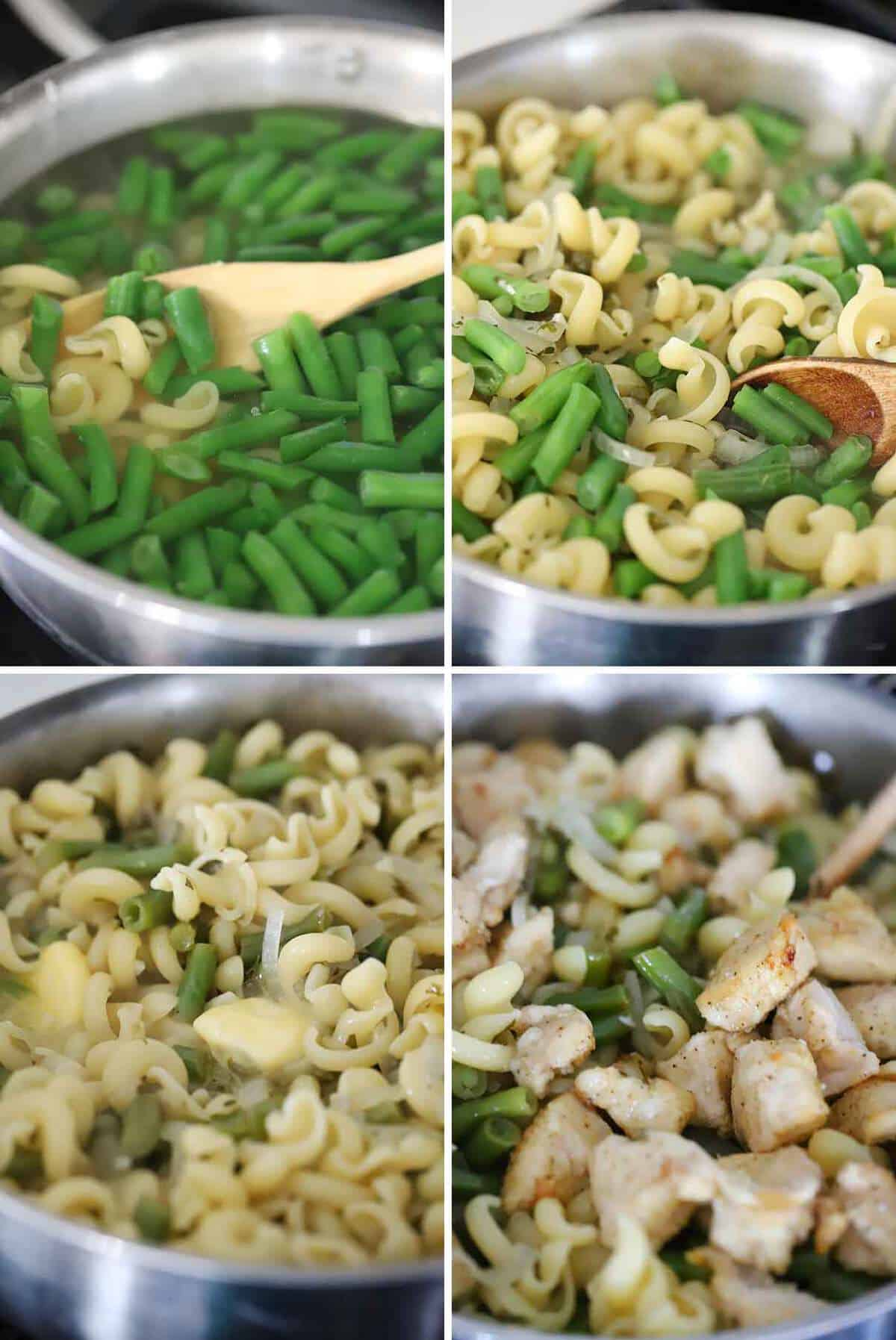 A photo collage for how to finish making chicken piccata pasta