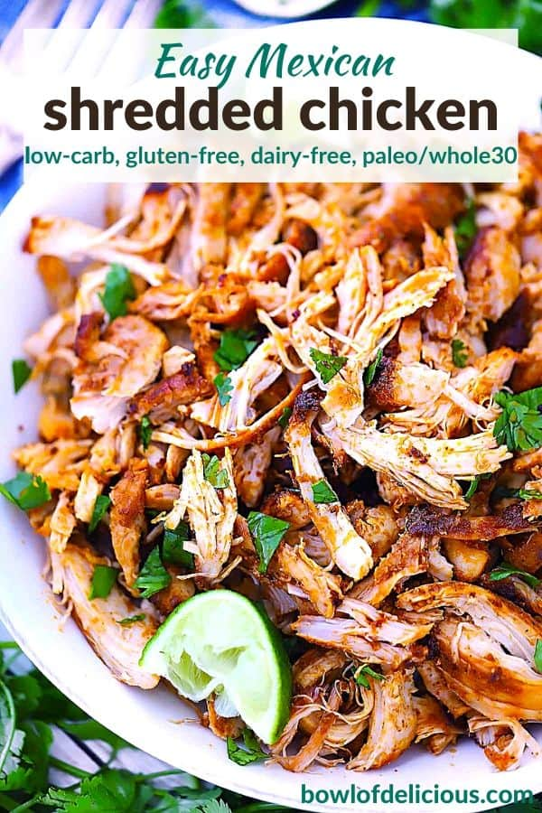 Pinterest Image for Mexican Pulled Chicken.