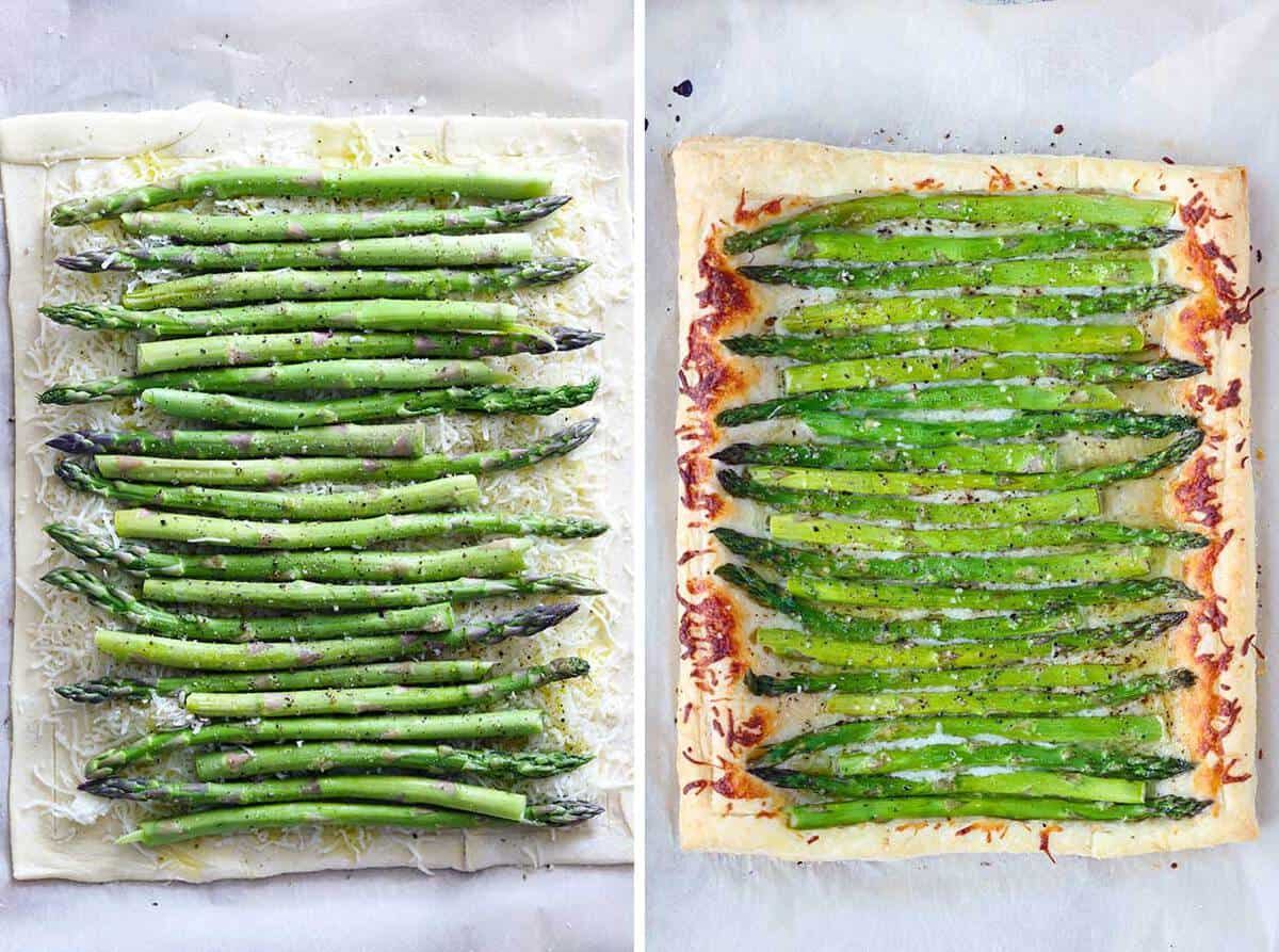 Layering cheese and asparagus on top of a puff pastry to bake.