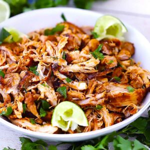 Square photo of Mexican pulled chicken.