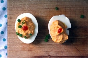 Sriracha Deviled Eggs side by side comparison