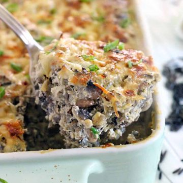 No canned soups here! This Wild Rice and Mushroom Casserole has a nutty, rich, and earthy flavor. It's excellent vegetarian comfort food!