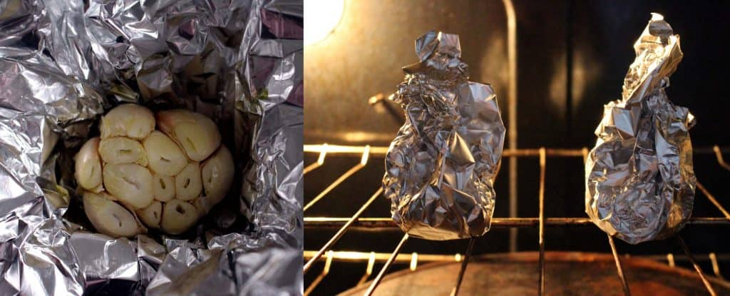 Photo collage showing two photos: one of garlic head placed in open aluminum foil, and one of aluminum foil pouch inside oven.