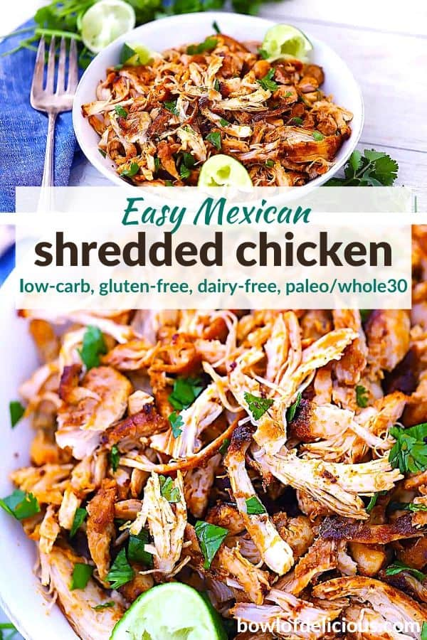 Pinterest Image for Mexican Shredded Chicken.