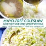 pinterest image for mayo free coleslaw