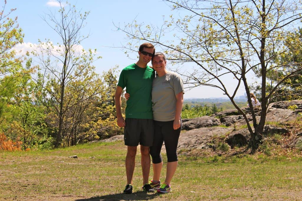 A photo of the blogger and her husband on a hike in nature.