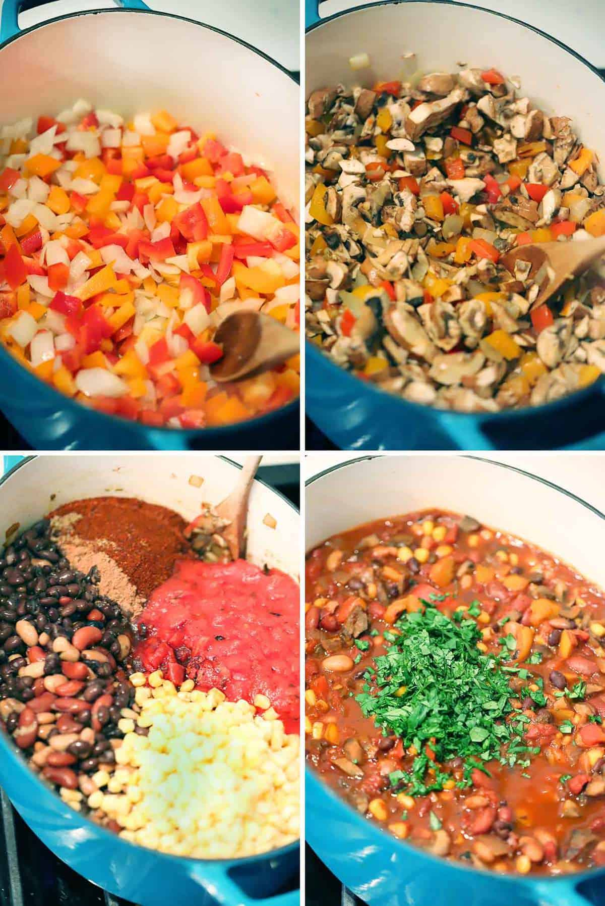 A photo collage showing how to make vegetarian chili.