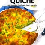 Pinterest image for crustless broccoli cheddar quiche.