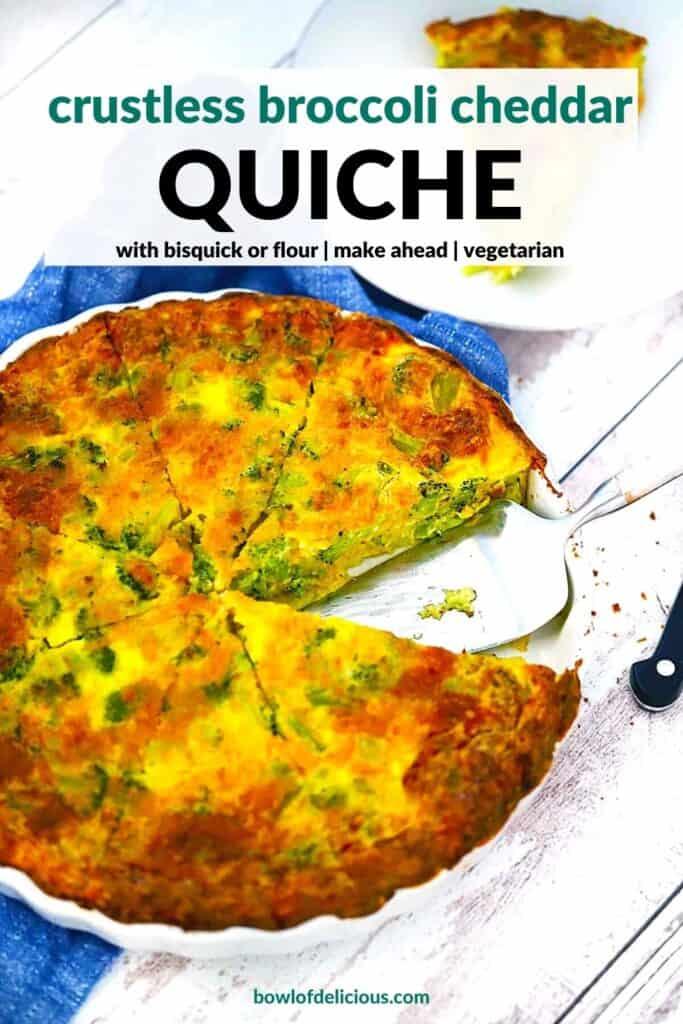Pinterest image for crustless broccoli cheddar quiche.