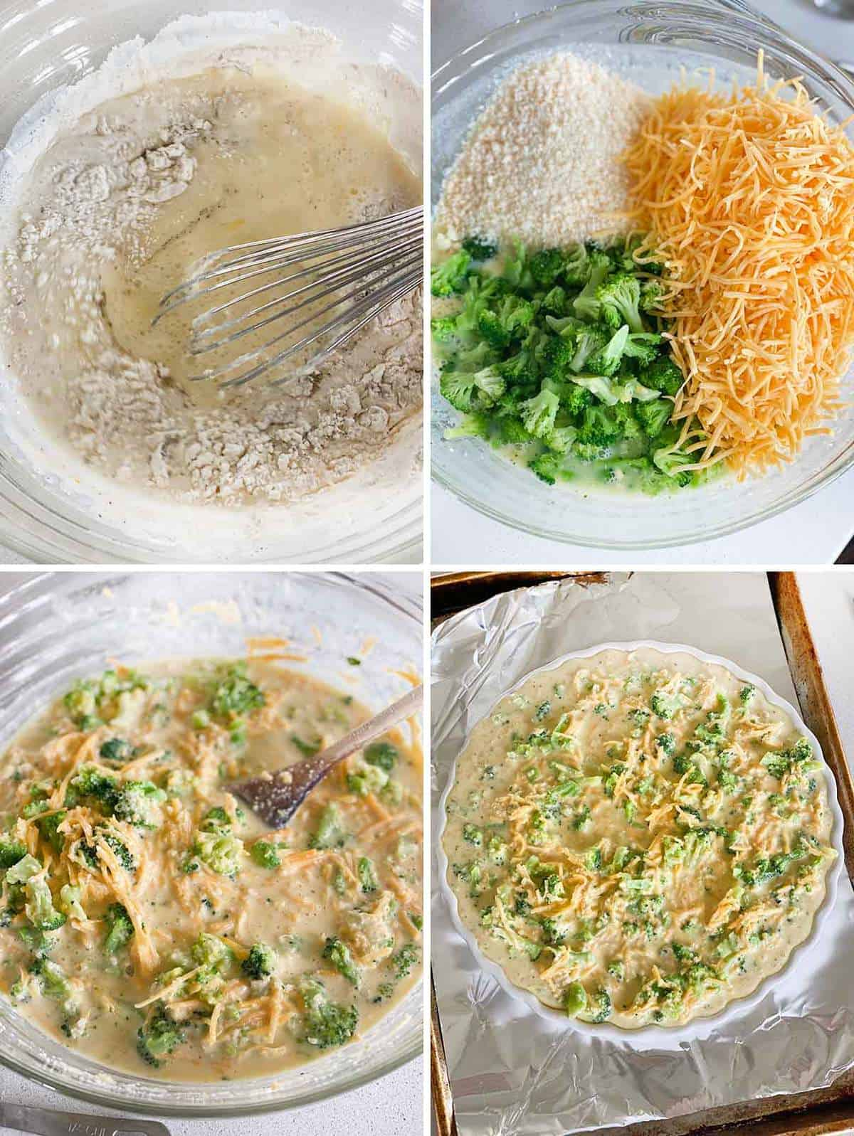 Process collage showing mixing the batter for crustless broccoli cheddar quiche and pouring into quiche dish.