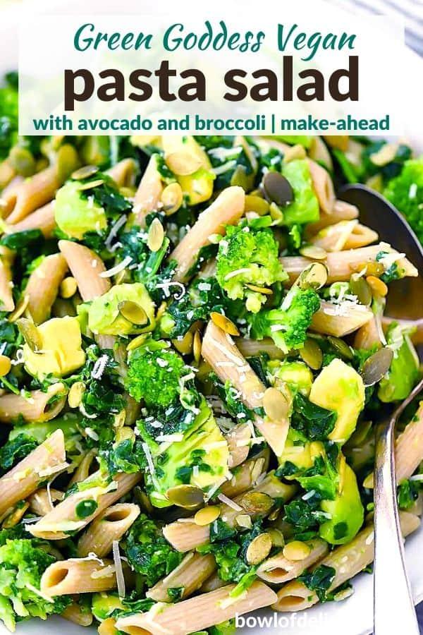 Pinterest image for Green Goddess Pasta Salad.