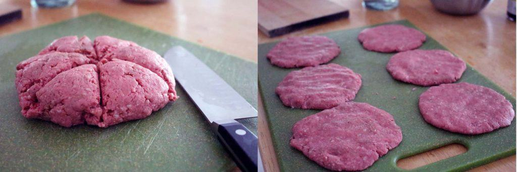 Photo collage, showing one photo with a rounded mass of ground beef cut into six equal pieces, and another photo showing ground beef formed into patties on a baking sheet.