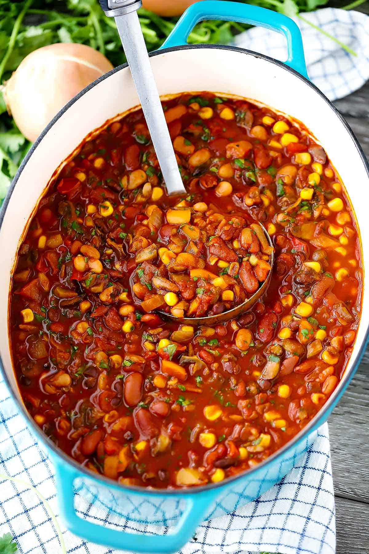 Smoky Vegetarian Chili With Beans And Mushrooms Bowl Of Delicious