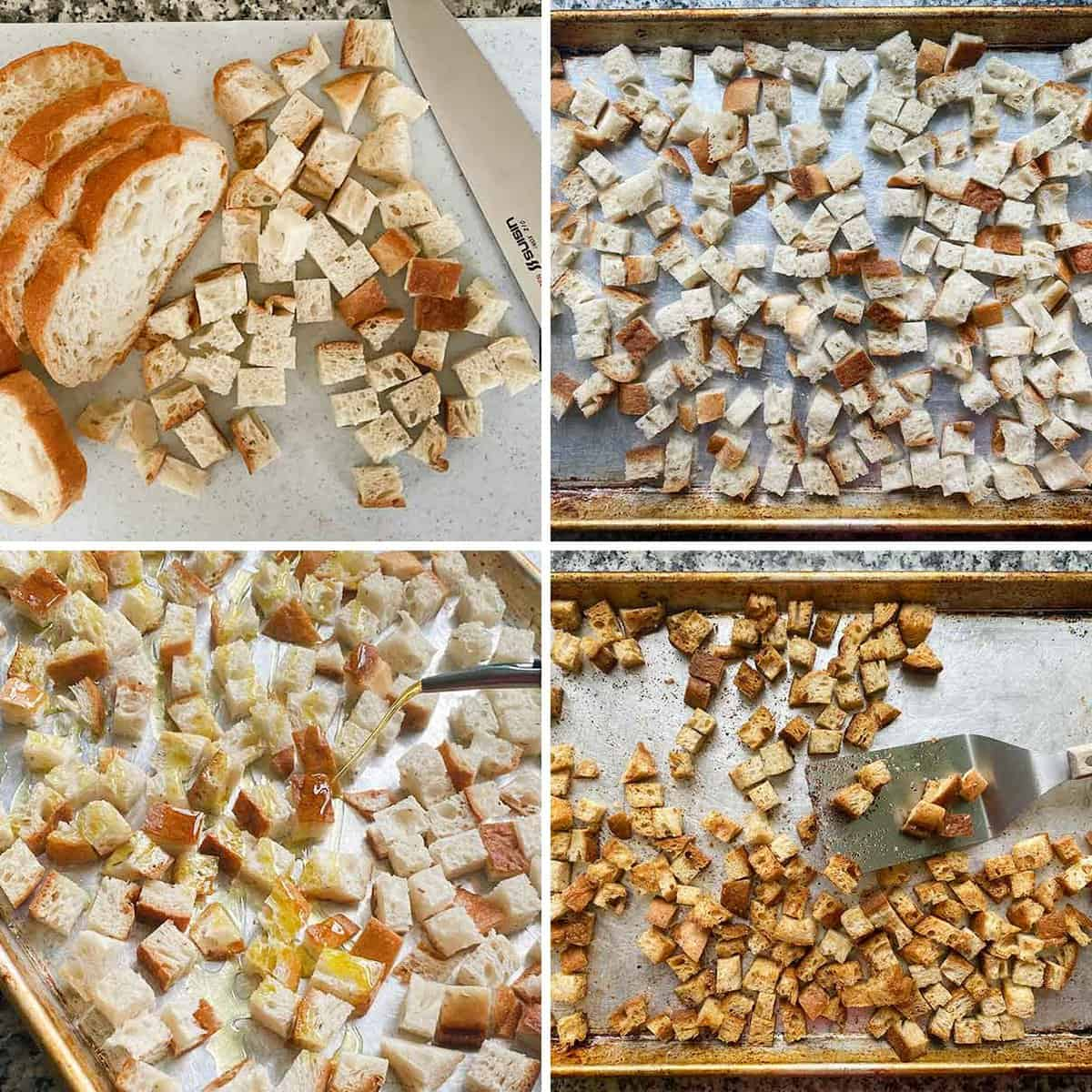 Bowl of salad in foreground topped with croutons, with croutons scattered in the background.