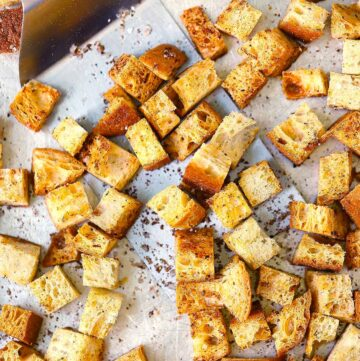 Homemade Whole Wheat Croutons made with 4 ingredients you probably already have - You'll never buy store-bought again