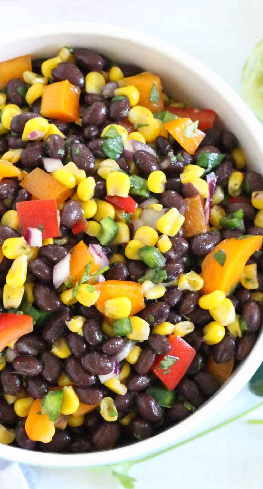 Close up, bird's eye view of black bean and corn salad.